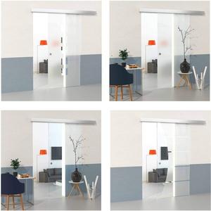 DURADOOR Zimmertür Set aus Sicherheitsglas satiniert 2050 mm x 1050 mm x 8 mm Schiebetür Glastür Glasschiebetür