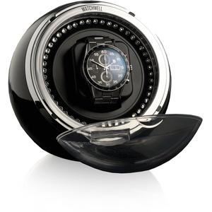 Watchwell® Uhrenbeweger Globe Shine Schwarz, Zirkonia Edelsteine, Blaue LED Beleuchtung, für 1 Automatikuhr