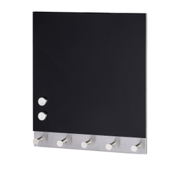 WENKO Black Magnetische Garderobe, Hakenleiste mit 5 Haken, auch als Schlüsselbrett geeignet, Maße: 30 x 34 cm