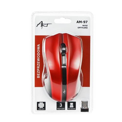 ART Kabellose Maus Wireless Schnurlose Optische 3 Tasten Maus USB Laptop, Notebook, PC, Computer Rot