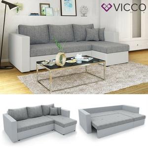 VICCO Ecksofa mit Schlaffunktion Weiß Grau - Couch Schlafsofa Taschenfederkern