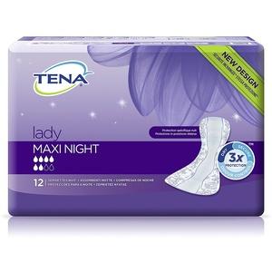 Tena Lady Maxi Night – Karton mit 6 Packungen mit je 12 Binden