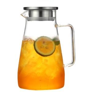 BSTCAR 1800ml Wasserkaraffe, Heiß- / Kaltwasserkrüge,Hitzebeständig, Teekanne Glas Teebereiter, Glaskaraffe,Glaskrug aus Borosilikatglas Wasserkrug mit Edelstahl Deckel Karaffe Glaskanne