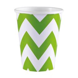 Amscan Einweggeschirr-Set Kiwi Grüne Zick-Zack Pappbecher als Partygeschirr, Pappe weiß
