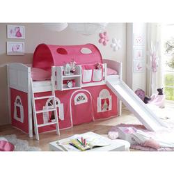Kinderbett in Weiß und Pink Leiter und Rutsche