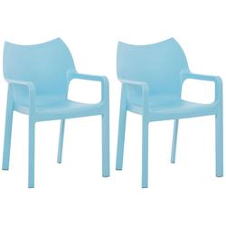 CLP Gartenstuhl Diva (2er Set), Kunststoff-Gartenstuhl mit Armlehnen blau