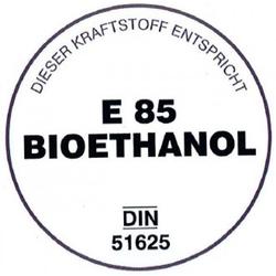 E 85 Bioethanol-Aufkleber