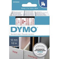 DYMO Schriftband D1 45012 Bandfarbe: Transparent Schriftfarbe:Rot 12mm 7m