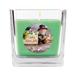 HS Candle Duftkerze (1-tlg), Frohes Neues Jahr - Kerze im Glas, Kerze mit Neujahr - Motiv, vers. Düfte / Größen grün 8 cm x 8 cm x 8 cm