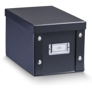 Zeller CD- Box, Praktische & dekorative Ordnungs- und Aufbewahrungsbox, Farbe: schwarz, 16,5 x 28 x 15 cm