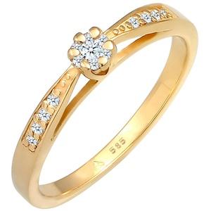 DIAMORE Ring Damen Blume Motiv Edel mit Diamant (0.16 ct.) Blume aus 585 Gelbgold