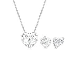 Elli Schmuckset Herz Ornament Kristalle 925 Silber silberfarben