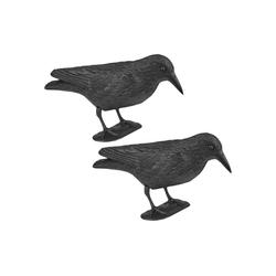 Wellgro Gartenfigur 2 x Vogelschreck - Krähe sitzend - Vogelscheuche - Taubenschreck - Kunststoff, schwarz, (2 St)