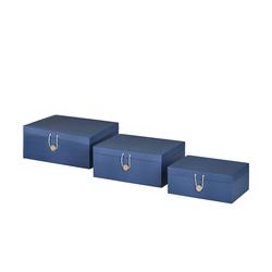 Aufbewahrungsboxen, 3er-Set ¦ blau ¦ Papier