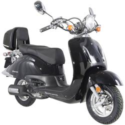 Alpha Motors Motorroller Firenze, 125 ccm, 80 km/h, Euro 4, 125 ccm, 80 km/h, schwarz inkl. Topcase