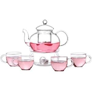 Bestonzon Glas-Teekannen-Set, hitzebeständig, Teekanne mit Stövchen und 4 Teetassen