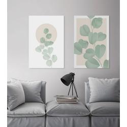 queence Leinwandbild Blätter mit rosa Hintergrund 40 cm x 60 cm x 2 cm