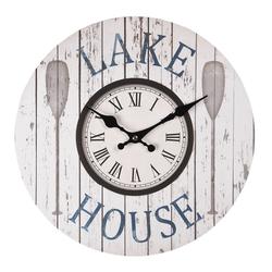 Clayre & Eef Wanduhr Wanduhr LAKE HOUSE blau weiß Uhr maritim Hamptons Strandhaus Long Island