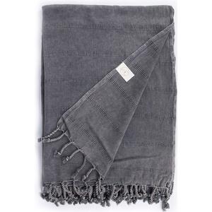 Bersuse 100% Baumwolle - Troy XXL Strandtuch Sofa-Überwurf - Steingewaschen - 148 x 206 cm, Schwarz
