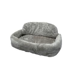 Tiersofa de Luxe Teddyplüsch mit Kissen, L65 x B90 x H24 cm, grau