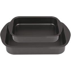 ICQN Backblech, Aluminium, (2-St), Backblech Set, 35 x 25 und 30 x 22, 2er Backbleche für Backofen, 6 und 6,5 cm extra Tiefe, Aluminium Antihaftbeschichtet