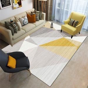 RUGMRZ Teppiche Anti-Rutsch Anti-Dirty Zimmer Teppichboden Schmutziger und langlebiger Wohnzimmerteppich grau gelb großer dreieckiger Schlafzimmerteppich staubabsorbierend Teppichboden Gelb 120X160CM