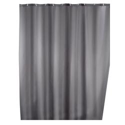 WENKO Anti-Schimmel Duschvorhang Uni Grey, 180 x 200 cm, waschbar