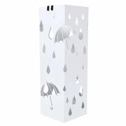 Stojak na parasole Rain metalowy biały na planie kwadratu
