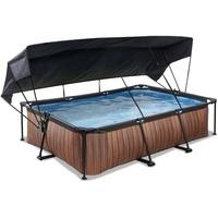 EXIT TOYS Wood Pool 220x150x65cm met Sonnensegel und Filterpumpe - braun