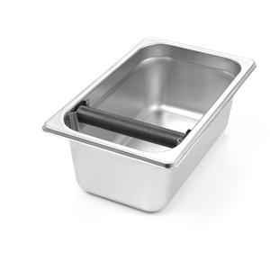 HENDI Abklopfbehälter Gastronorm, Abschlagbehälter, Abschlagkasten, entleeren des Kaffeesatz, mit abnehmbarer silikonbeschichteter Abklopfstange, GN 1/4, 265x162x(H)100mm, Edelstahl