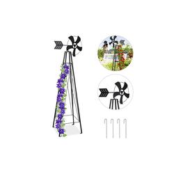 relaxdays Rankhilfe Rankhilfe mit Windrad für den Garten