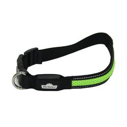 Dehner Hunde-Halsband LED Hundehalsband Collar, Mesh-Stoff, schwarz/grün 2,5 cm x 63 cm