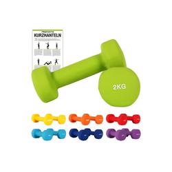 MSports® Hantel Hantelset Neopren 2er Set 0,5 – 5 kg Paar inkl. Übungsposter Kurzhanteln grün