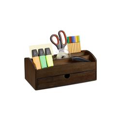 relaxdays Schreibtischaufsatz Schreibtisch Organizer aus Bambus