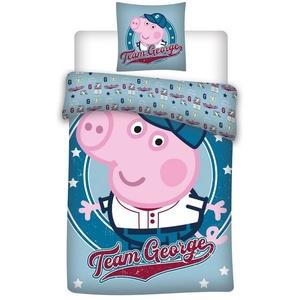 Babybettwäsche Peppa Pig Wutz - Baby-Bettwäsche-Set, 100x135 & 40x60 cm, George, Peppa Pig, 100% Baumwolle