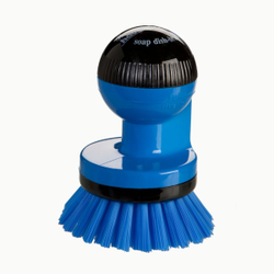 Haug spüli-rondo Knopfbürste, mit Spülmittelspender, Besatz: Nylon 6,6, Farbe: blau
