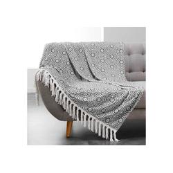 Tagesdecke, dynamic24, Boho Wohndecke 125x150 Kuscheldecke Sofa Couch Decke Überwurf grau