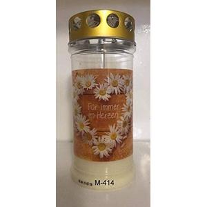 Aeterna Memoriam 4 Tages Motivgrabkerze mit Golddeckel - 12 St. Grabkerzen in weiß mit Golddeckel - Grablichter mit Deckel - Friedhofskerze - Grablampe - Grablicht (Für Immer im Herzen)