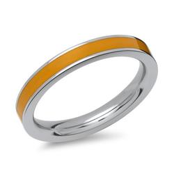 Ring aus Edelstahl orangefarbene Emaille