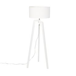 Stehlampe Stativ weißes Holz mit weißem Schirm 50 cm - Puros