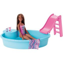 Barbie Pool und Puppe (brnet