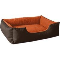 BedDog BedDog® Hundebett LUPI, Hundesofa aus Cordura, Microfaser-Velours, waschbares Hundebett mit Rand, Hundekissen Vier-eckig, für drinnen, draußen, L, Sunset, braun-orange