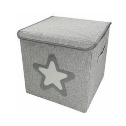 Boite de rangement, coffre à jouets pour enfant avec couvercle - 33 x 33 x 33 cm - Gris Étoile
