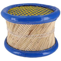 Guru-Shop Stuhl Bunter runder Schilfrohr Korbhocker in.. blau