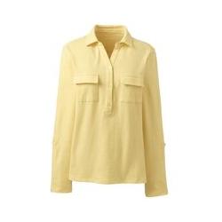 Shirt mit Polokragen aus Leinenmix, Damen, Größe: M Normal, Gelb, by Lands' End, Goldener Mais - M - Goldener Mais