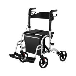 Rollator-Rollstuhl 2-in-1 - silber - 136 kg