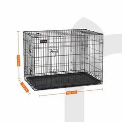 FEANDREA Hundekäfig, Hundebox mit Trennwand, 2 Türen, 107 x 70 x 77.5 cm (L x B x H)