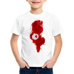 style3 Print-Shirt Kinder T-Shirt Flagge Tunesien Fußball Sport Tunisia WM EM Fahne weiß 164