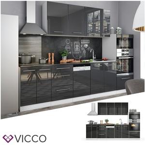 Vicco Küche Fame-Line Küchenzeile Küchenblock Einbauküche 295cm Anthrazit Hochglanz