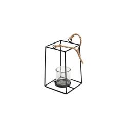 Parts4Living Teelichthalter Teelichthalter zum Aufhängen aus Metall mit Glaseinsatz schwarz 21 cm